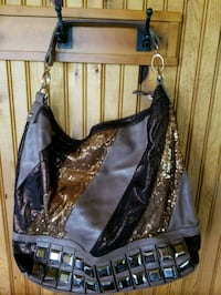 women's brown and gold leather shoulder bag Canton, 57013