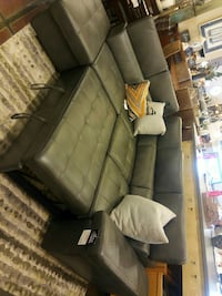 tufted black leather sectional sofa Calgary, T2H