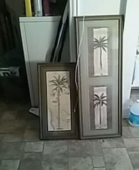 three green coconut trees paintings