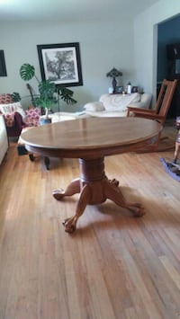 Oak Ball and Claw-Foot Pedestal Dining Table #2