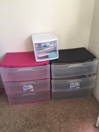 pink and black plastic 3-tier dressers