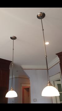 "Two gray metal framed pendant lamps 45"" hight"