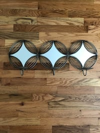 Mirrored Wire Candle Holder Wall Decor - Silver Gunmetal