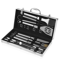 Barbecue BBQ Tools Set, 18 Pieces Grill Tools Set, Stainless Steel Utensils Accessories Kit Aluminum Denver, 80014