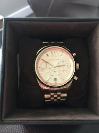 round gold Michael Kors chronograph watch with link bracelet North Vancouver, V7R 2K7