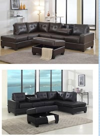 Leather sectional with console  Elgin