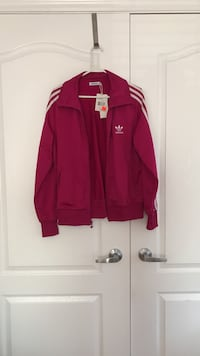 Dark pink Adidas track jacket. Women's size large Vaughan