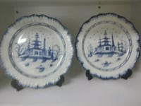 two white-and-blue ceramic plates Woodland, 98674