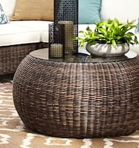 Pottery Barn Torrey All-Weather Round Wicker/Glass-topped Coffee Table