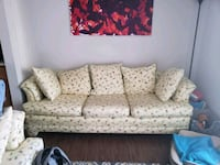 Yellow and red floral fabric couch.   Gaithersburg, 20878