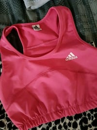 pink and white Adidas tank top 42 km