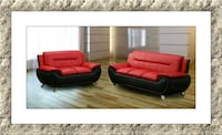 Red/black 2pc sofa and love seat free delivery McLean