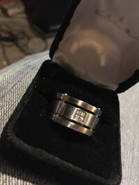 Mens stainless steel white sapphire