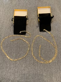 2 Brand new 18k pure gold 30in Figaro necklaces with the velvet pouch Sioux Falls, 57110