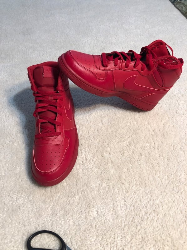 Men's Nike Big High Basketball Shoes Red Leather (Retail $100) 2a606000-b202-4b9d-b1dd-0988a1aac455