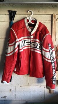 Red and white icon motorcycle jacket large Toronto, M3A