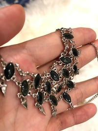 silver and black gemstone pendant necklace Seattle, 98115