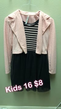 pink cardigan and black dress with kids 16 $8 text overlay Bakersfield, 93311