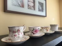 4 tea cups with 4 matching saucers