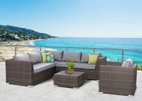 Marcia Collection SUN-6002 5 PC Outdoor Sectional, Grey  GLENBURNIE