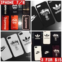 3 for $15. iPhone 7/8 DUPE Cases. Supreme, Stussy, Nike, Adidas