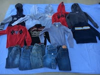assorted jeans and hoodie jacket lot