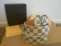 brown and white Louis Vuitton leather belt with box Ceres, 95307