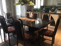 A set of 8 velvet upholstered wrought iron chairs.... table not included  Mono, L9W