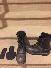 black leather Viberg work boots