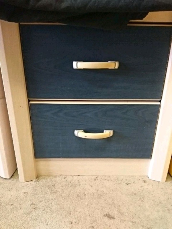 blue and white wooden 2-drawer chest