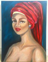 woman wearing red turban head cover painting