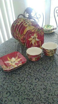 red-yellow-and-green floral ceramic plate lot