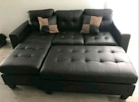Espresso convertible sectional bed w/ 2 pillows