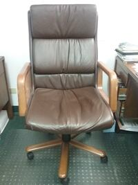brown leather padded rolling armchair DENVER
