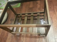 brown wooden framed glass top coffee table Whitby, L1P 1B4