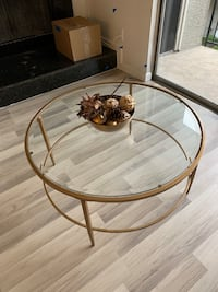 Glass and gold round coffee table!