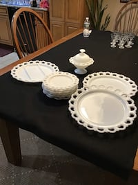White milk glass,candy dish,6 snack plates,1 serving plate,2 large plates Mount Holly, 08060