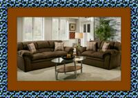 Chocolate fabric sofa and love seat free delivery Temple Hills