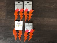 Neon orange lightning earrings new never used hot topic brand