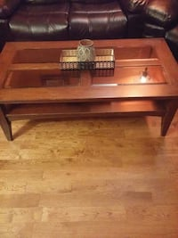 rectangular brown wooden glass top coffee table Mississauga, L5V 2V3