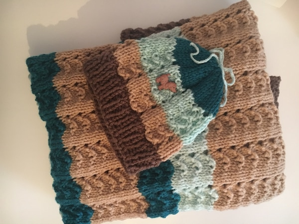 New hand knit blanket and hat set