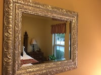 "Silver metallic, wood-framed beveled mirror, 28"" x 24"" Washington"