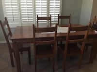 rectangular brown wooden table with six chairs dining set Tucson, 85749