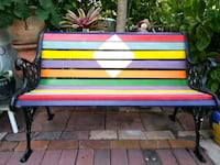 Wrought Iron Ornate Patio Bench Hand Painted in Whimsical Colors Deerfield Beach