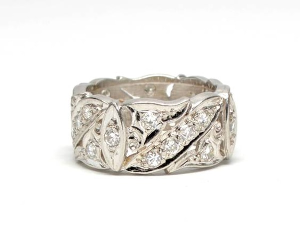Ladies White Gold/Diamond Band