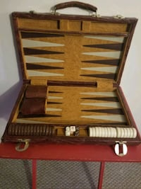 Vintage Faux Leather Backgammon Set