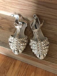 pair of white leather open toe ankle strap heels Brampton, L6Z 1Y9