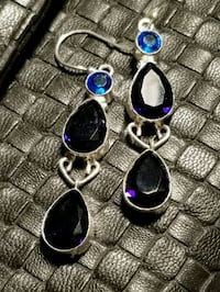 Blue sapphire and blue topaz 925 silver earrings