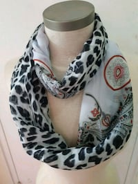 white and black animal print scarf