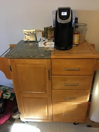 Kitchen cart/island very practical. Top is part granite and part wood.